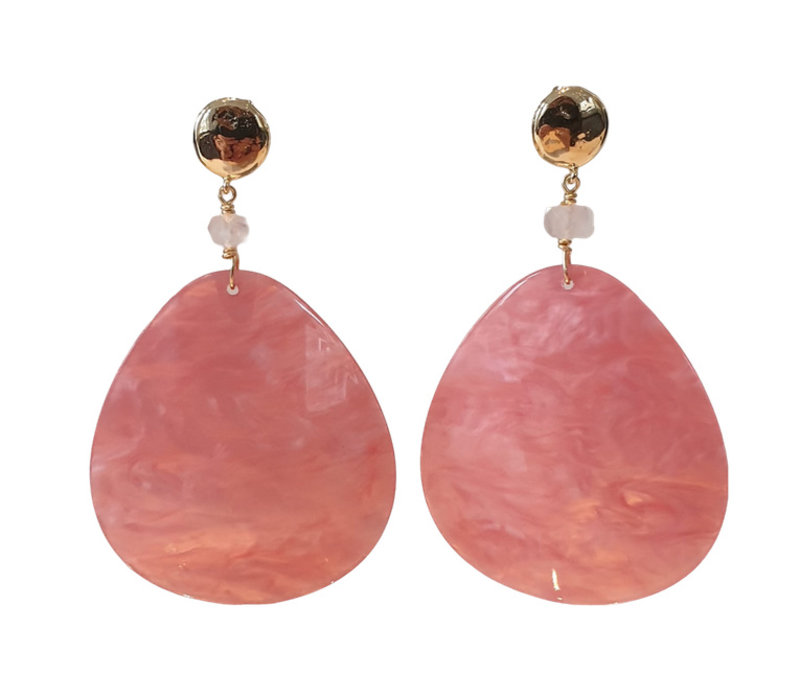 Earrings with Rose Quartz and Resin