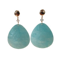 Earrings with Aquamarine and Resin