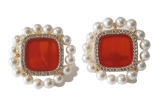 TREND COLLECTION Orange, White Earring