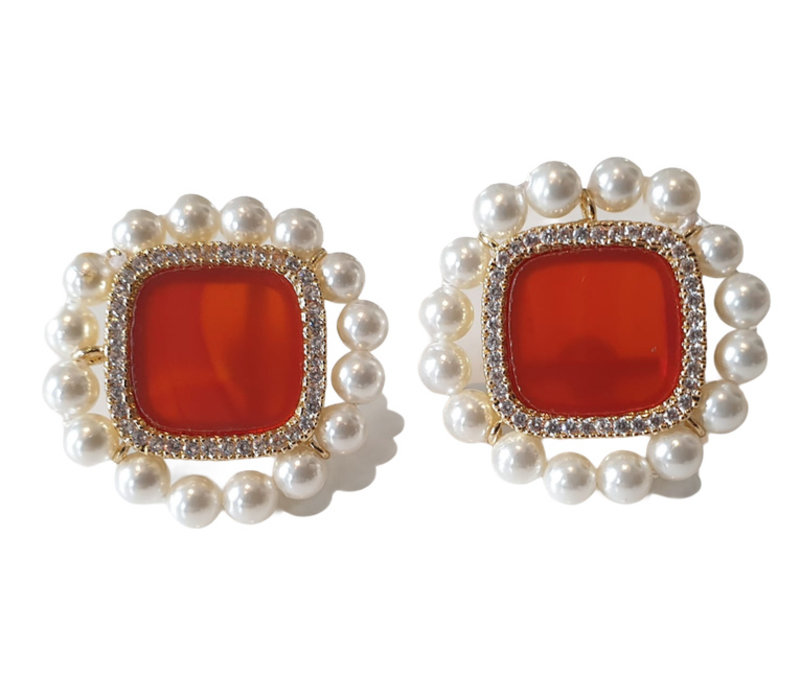 Earrings with Carnelian, Crystal and imitation pearl