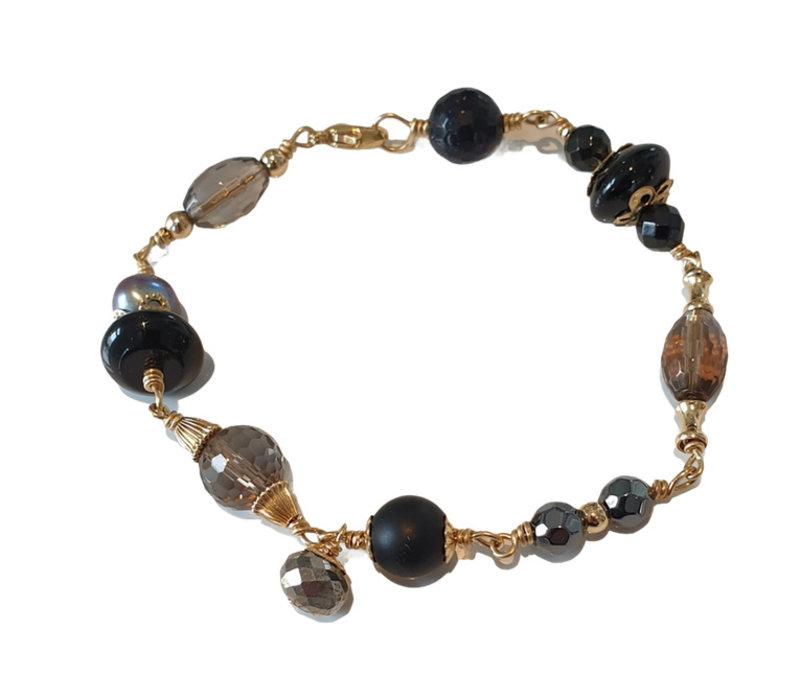 Bracelet with Smoky Quartz, Onyx, Pearl, Goldstone, Pyrite, Hematite