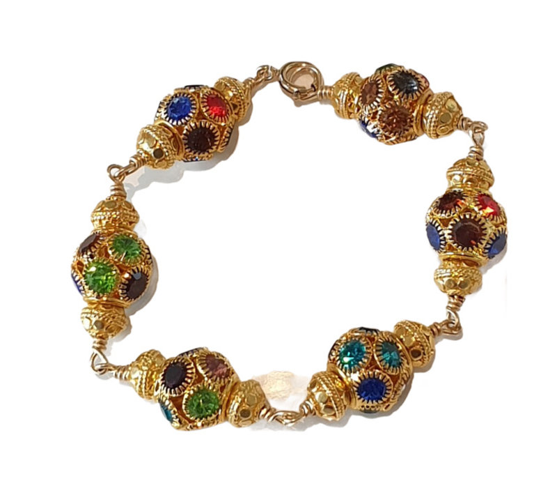 Bracelet with Bras, Gold Plated elements and Crystal