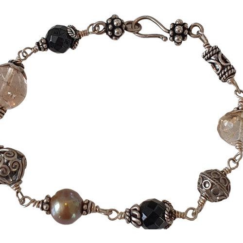 Silver, Black, Gray Bracelet