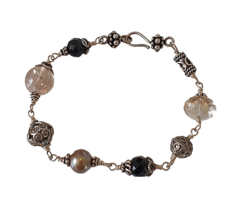 Bracelet with Pearl, Onyx and Rutile Quartz
