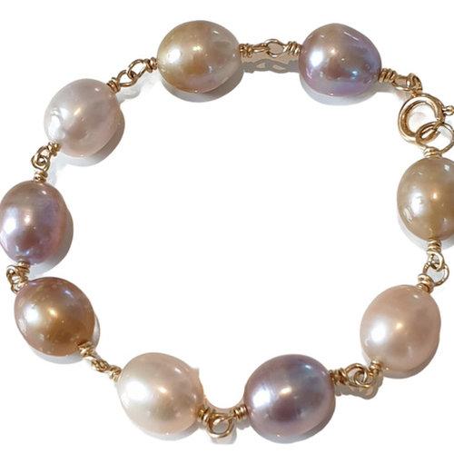 Gold, Nude, White Bracelet