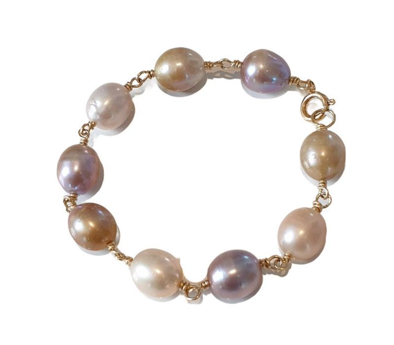 Armband met Parels - goud, wit, nude