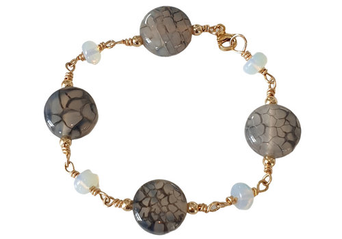 CLASSIC COLLECTION Grijs, Blauwe Armband