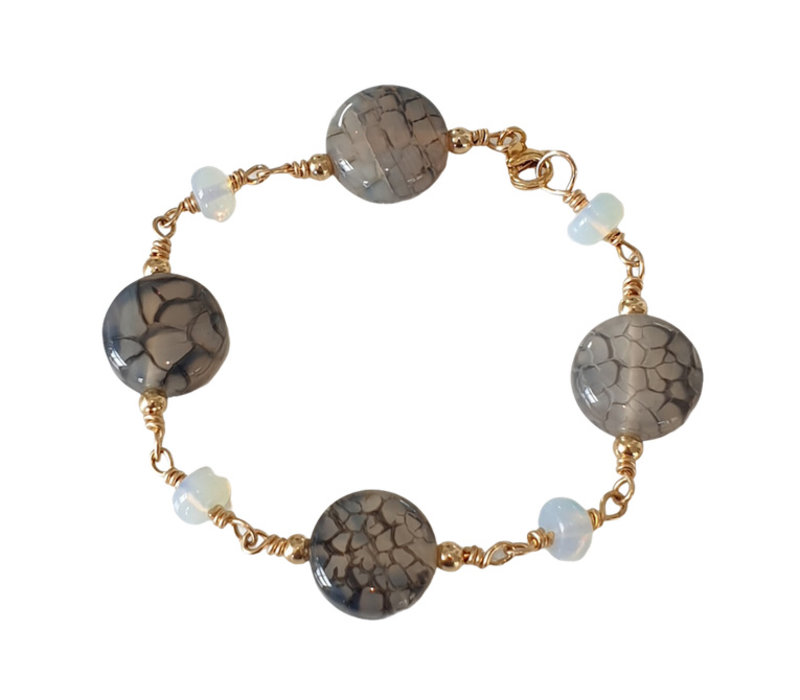 Bracelet with Tiger Agate and Opalite