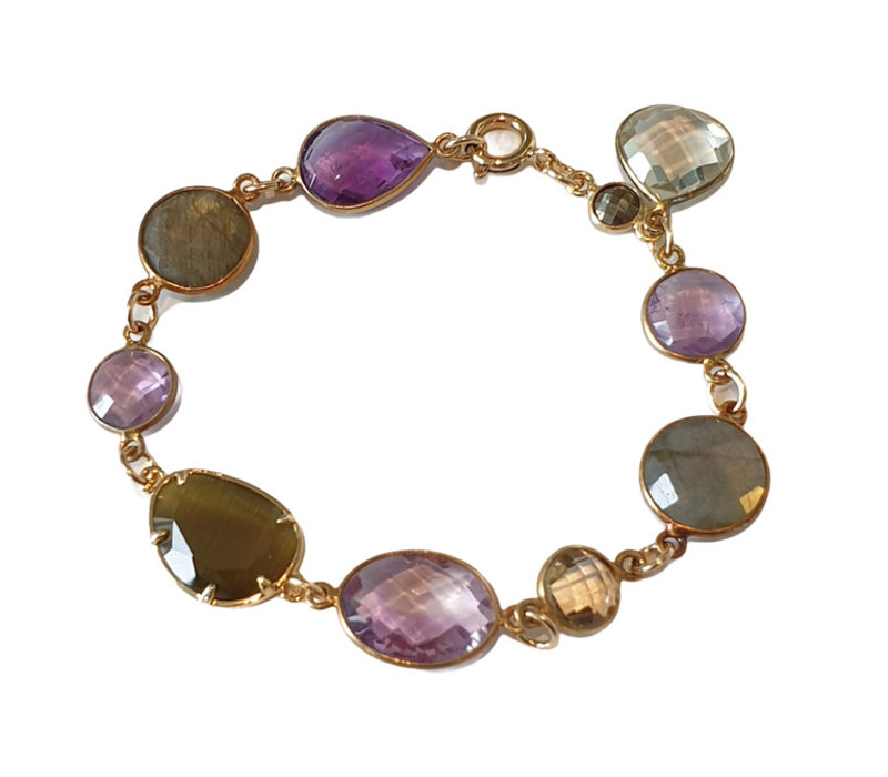 Bracelet with Amethyst, Labradorite, Prahsolite and Cat's Eye