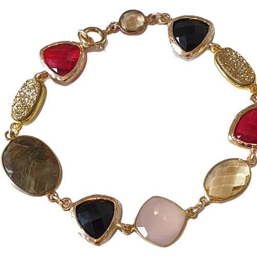 Gold, Red, Pink, Brown Bracelet