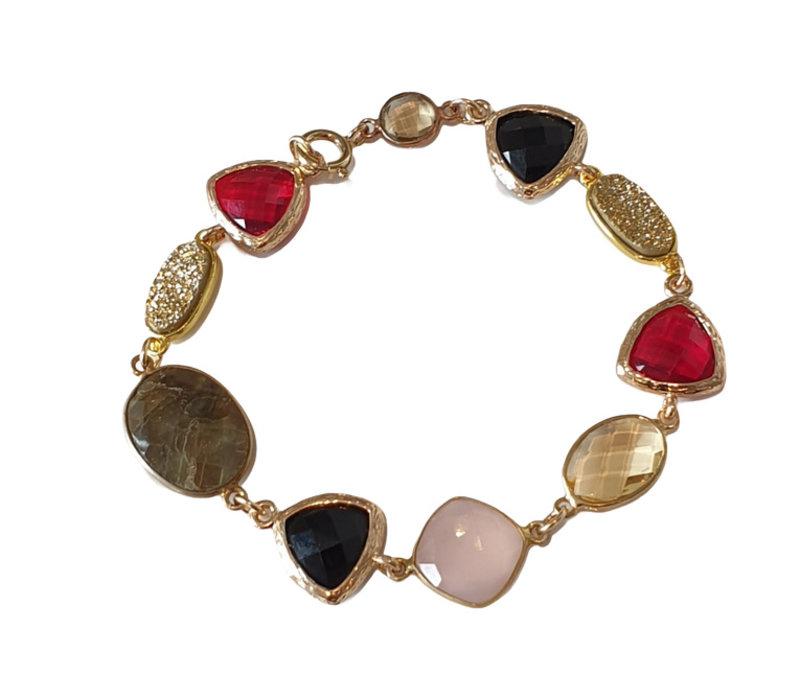 Armband met Kristal, Rookkwarts, Geode en Labradoriet