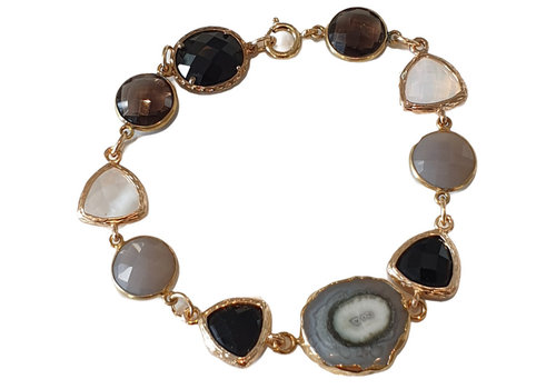CLASSIC COLLECTION Goud, Zwart, Grijze Armband