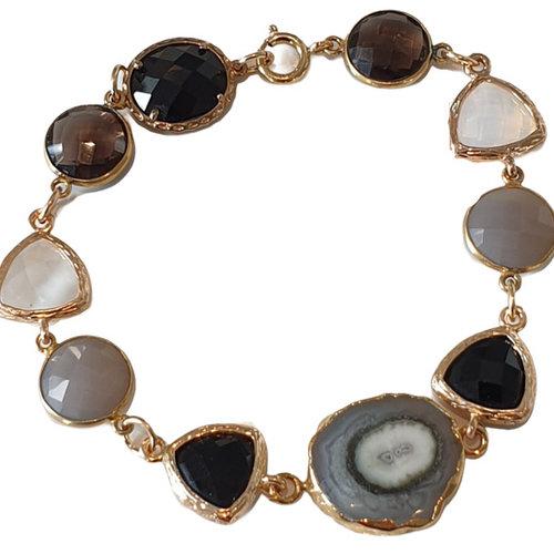 Gold, Black, Gray Bracelet
