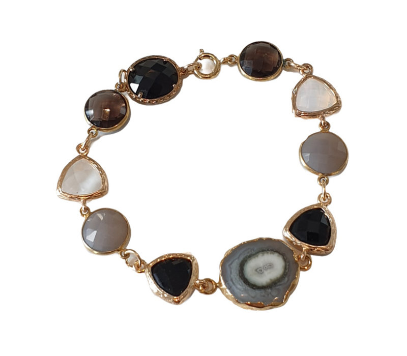 Bracelet with Cat's Eye, Crystal, Geode and Smoky Quartz