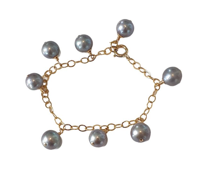 Armband met Parels - goud grijs