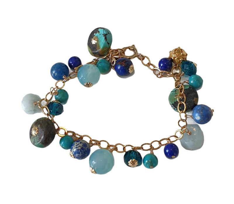 Bracelet with Turqoise, Aquamarine, Crystal, Agate and Lapis Lazulite