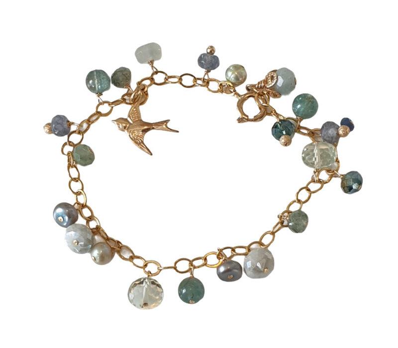 Bracelet with coating Aquamarine, Pearl, Prasiolite, Crystal, Fluorite, Pearl, Labradorite, Moonstone
