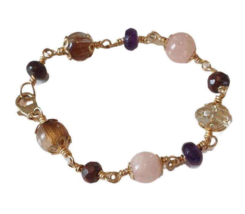 Bracelet with Rutile Quartz, Jasper, Rose Quartz and Amethyst