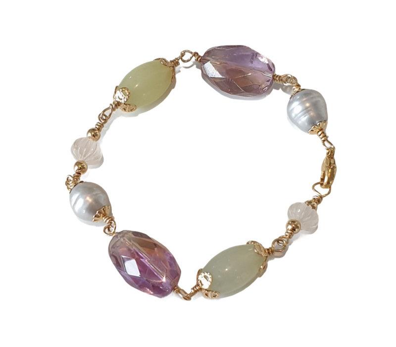 Bracelet with Ametrine, Pearl, Jade, Moranite