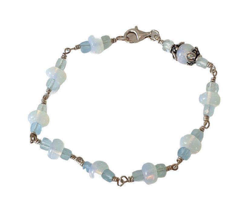 Armband met Opaliet en Aquamarijn