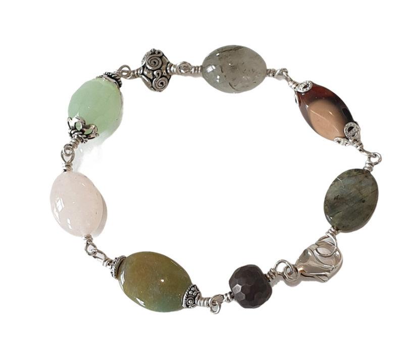 Bracelet with Labradorite, Agate, Fluorite, Jade, Agate and Hematite