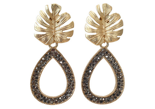 TREND COLLECTION Gold Black Glitter Earring Drop