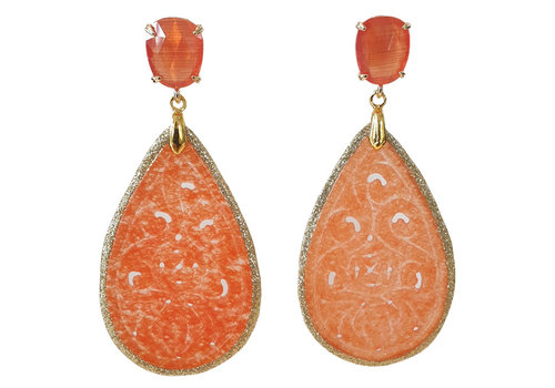 CLASSIC COLLECTION Orange, Gold Earring
