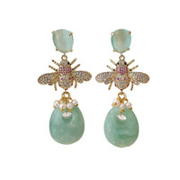 Earrings with Cat's Eye, Crystal, Imitation Pearl and Amazonite