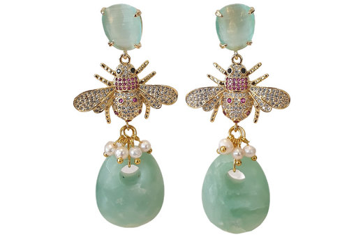 CLASSIC COLLECTION Green, Gold Earring