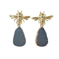 Earrings with Bras and Geode