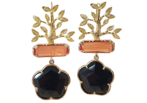 TREND COLLECTION Gold, Orange, Black Earring