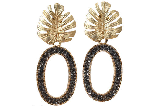 TREND COLLECTION Gold Black Glitter Earring oval