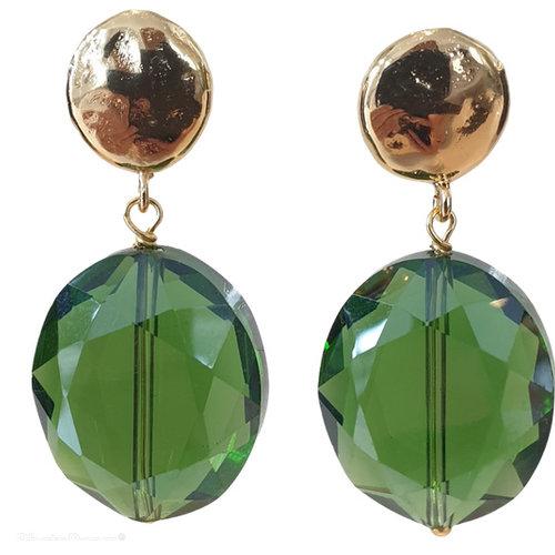 Green, gold Earring