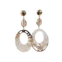 Earrings with Bras, Crystal and Mother of Pearl