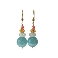 Earrings with Agate, Aquamarine and Cat's Eye