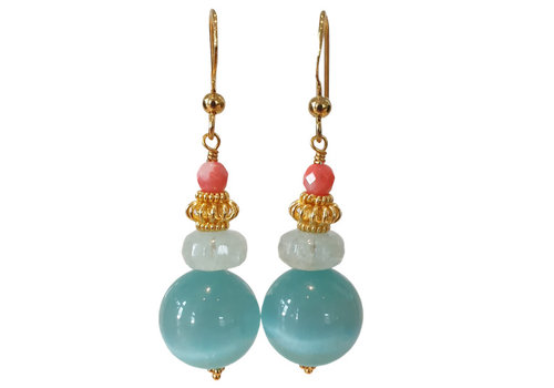 TREND COLLECTION Aqua, Coral earring