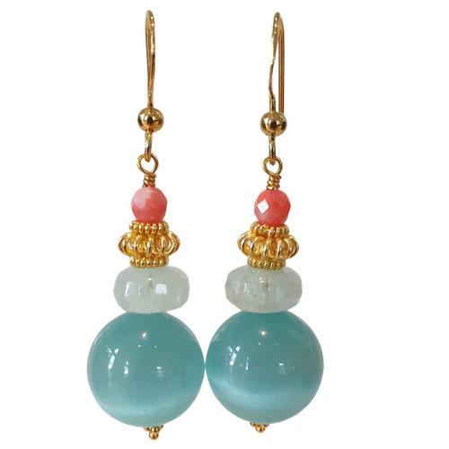 Aqua, Coral earring