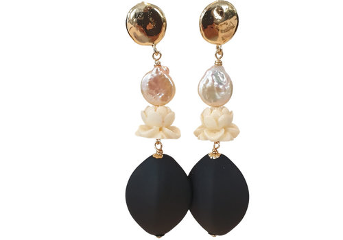 TREND COLLECTION Gold, Black, White Earring