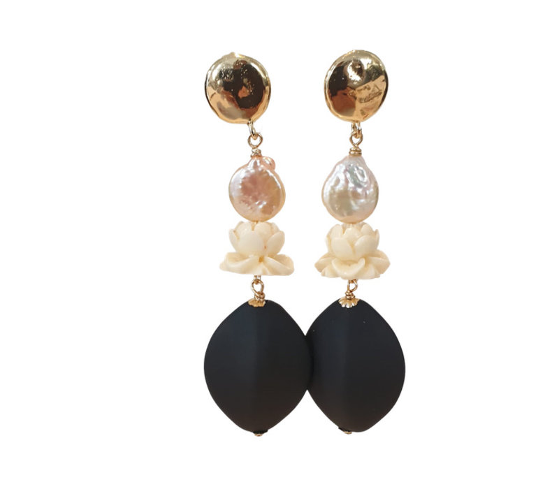 Earrings with Bras, Pearl and Resin