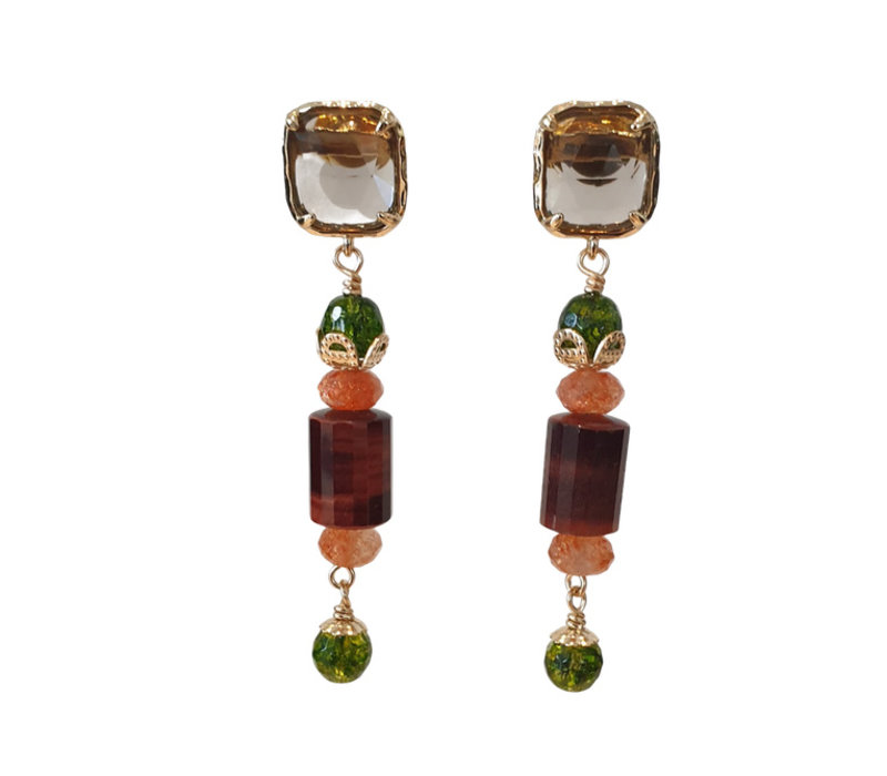 Earrings with Quartz, Olive Crystal, Sandstone and Tiger Eye