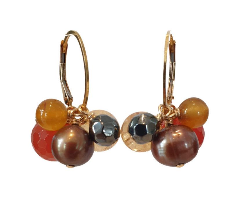 Earrings with Carnelian, Pearl, Hematite, Agate, Citrine