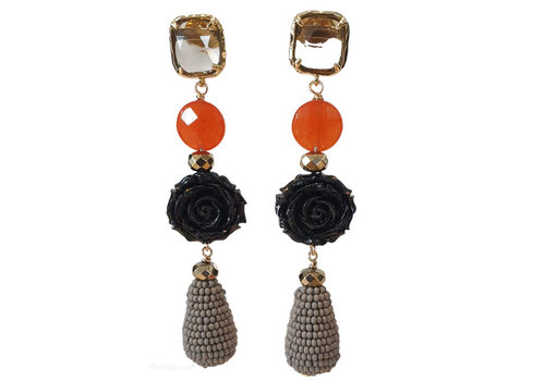 TREND COLLECTION Gray, Black, Orange earring