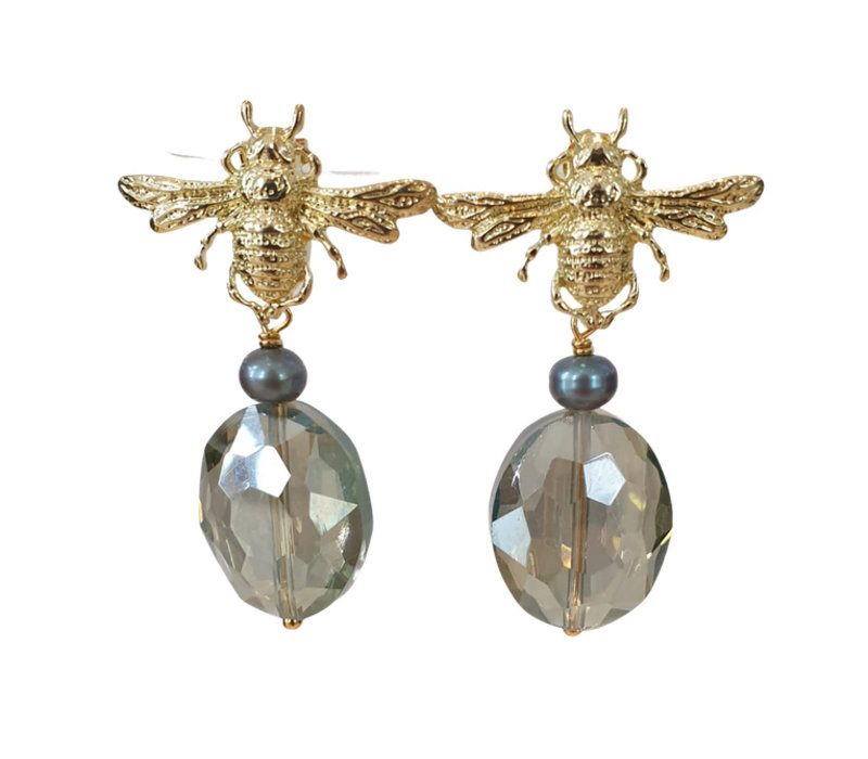 Earrings with Bras, Pearl and Crystal with coating