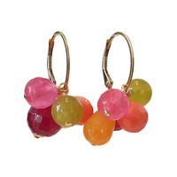 Earrings with Cultured Coral, Jade, Agate, Agate and Agate