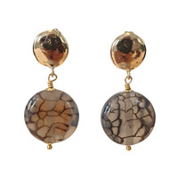 Earrings with Bras and Tiger Agate