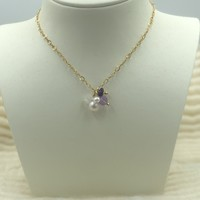 Necklace with Pearl, Light Amethyst and Moonstone
