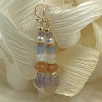 Earrings with Pearl, Light Amethyst, Agate and Moonstone