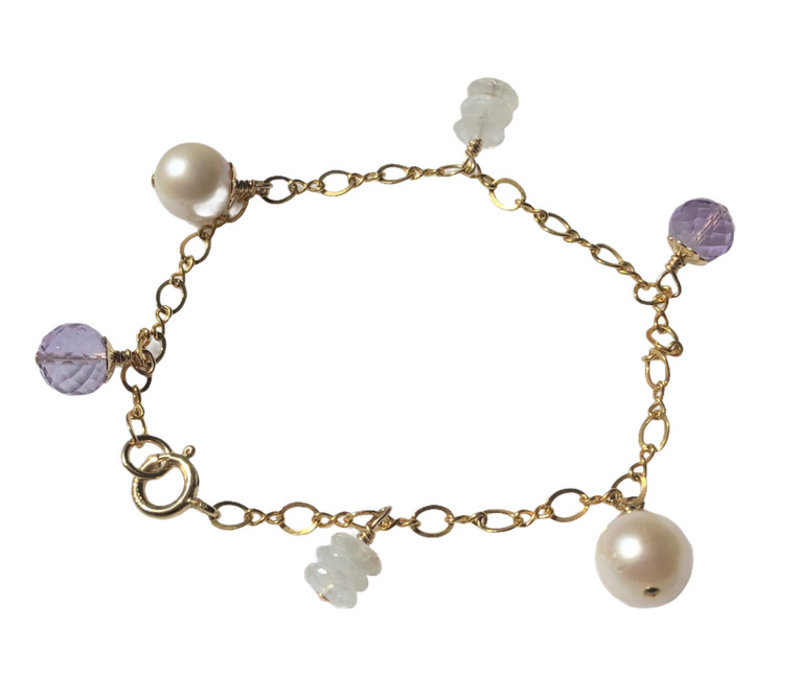 Bracelet with Pearl, Light Amethyst and Moonstone