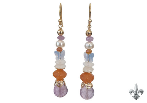 CLASSIC COLLECTION Purple, orange, white earring