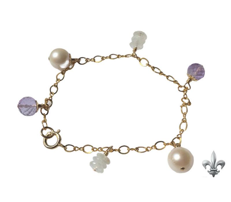 Armband met Parel, Lichte Amethist en Maansteen